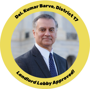 Kumar Barve Landlord Lobby Approved button